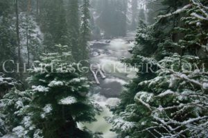 A fresh dusting of snow and a light fog create a wintery mood at Benham Falls in Central Oregon.