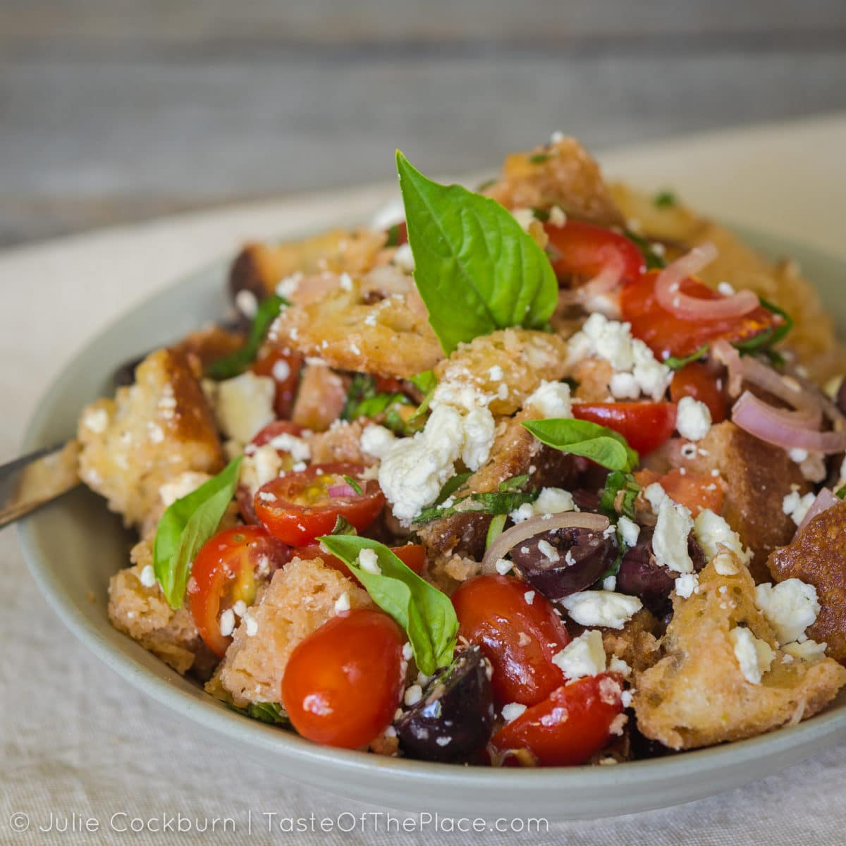 Panzanella with goodies at TasteOfThePlace.com