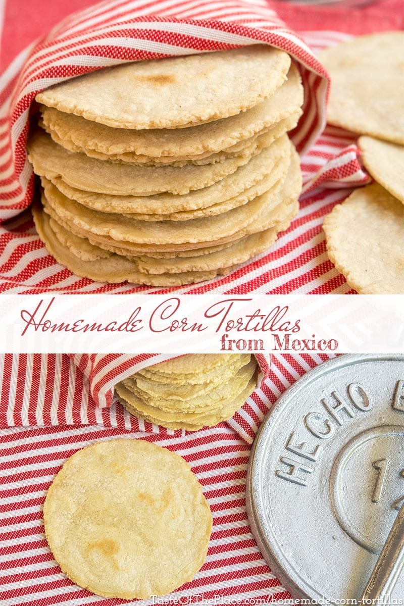 Homemade, authentic corn tortillas are surprisingly easy to make, contain only 3 ingredients, and taste sooo much better than store-bought! They're tender, fresh, moist, pliable, and have a delicious corn flavor. Try out this simple recipe for your next taco night, and enjoy the authentic flavors of Mexico!