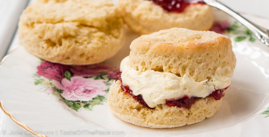Light and fluffy, with just a hint of sweetness, fresh British scones are perfect for slathering with clotted cream and strawberry jam.