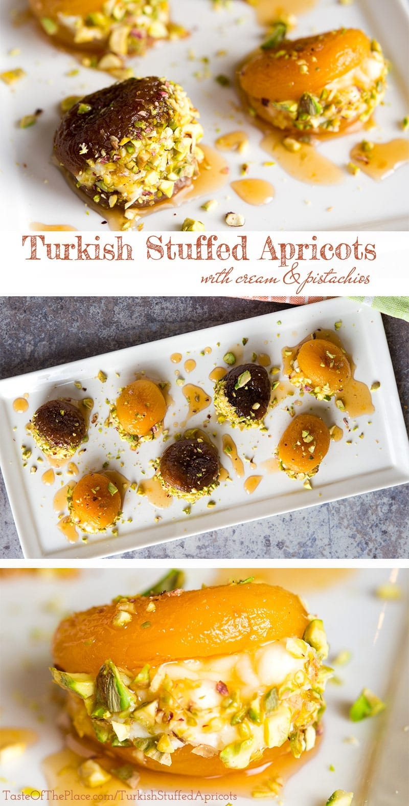 Turkish Stuffed Apricots recipe! Beautiful dried apricots are soaked, candied with lemon scented syrup, stuffed with rich cream, and garnished with crunchy pistachios to make the perfect, lightly sweet one bite treat! Serve them after dinner, as an appetizer, for afternoon tea, or even for breakfast.